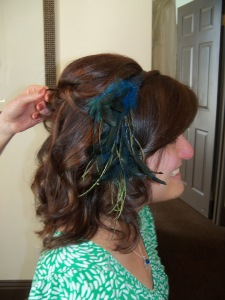 Wedding hair and hairpiece