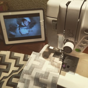 Sewing on the new machine